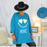 Sweat long funky femme grande taille original SMILE bleu canard Tunique hiver femme