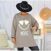 Sweat long funky femme grande taille original SMILE taupe Tunique hiver femme
