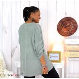 Tunique imprimée asymétrique femme grande taille DEV kaki Tunique femme grande taille