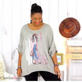 Tunique imprimée asymétrique femme grande taille DEV taupe Tunique femme grande taille