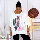 Tunique imprimée asymétrique femme grande taille DEV blanche Tunique femme grande taille