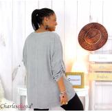 Tunique imprimée asymétrique femme grande taille DEV grise Tunique femme grande taille