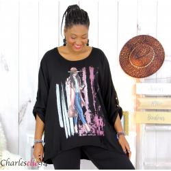 Tunique imprimée asymétrique femme grande taille DEV noire Tunique femme grande taille