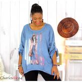 Tunique imprimée asymétrique femme grande taille DEV bleue Tunique femme grande taille