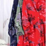 Robe chemise fleurie femme grande taille tencel bio ISHA kaki Robe tunique femme grande taille