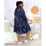Robe chemise fleurie femme grande taille tencel bio ISHA marine Robe tunique femme grande taille