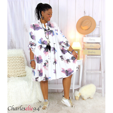 Robe chemise fleurie femme grande taille tencel bio ISHA blanche Robe tunique femme grande taille