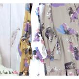 Robe chemise fleurie femme grande taille tencel bio ISHA brique Robe tunique femme grande taille