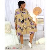 Robe chemise fleurie femme grande taille tencel bio ISHA camel Robe tunique femme grande taille