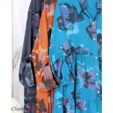 Robe chemise fleurie femme grande taille tencel bio ISHA gris Robe tunique femme grande taille