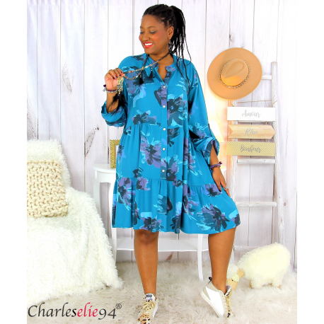 Robe chemise fleurie femme grande taille tencel bio ISHA canard Robe tunique femme grande taille