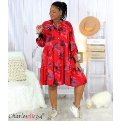 Robe chemise fleurie femme grande taille tencel bio ISHA rouge Robe tunique femme grande taille