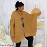 Pull poncho grosse maille femme grande taille ARYA camel Pull femme grande taille