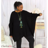 Pull poncho grosse maille femme grande taille ARYA noir Pull femme grande taille