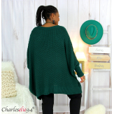 Pull poncho grosse maille femme grande taille ARYA vert Pull femme grande taille