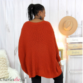 Pull poncho grosse maille femme grande taille ARYA brique Pull femme grande taille