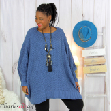 Pull poncho grosse maille femme grande taille ARYA bleu jean Pull femme grande taille