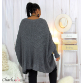 Pull poncho grosse maille femme grande taille ARYA gris Pull femme grande taille