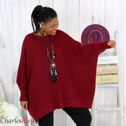 Pull poncho grosse maille femme grande taille ARYA bordeaux Pull femme grande taille
