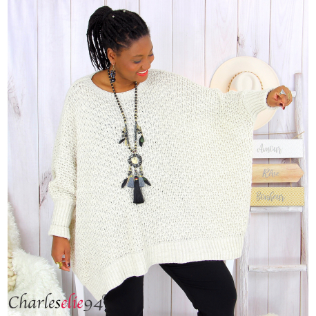 Pull poncho grosse maille femme grande taille ARYA beige Pull femme grande taille