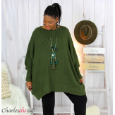 Pull poncho grosse maille femme grande taille ARYA kaki Pull femme grande taille