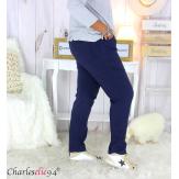 Pantalon femme grandes tailles stretch JANIE bleu marine Pantalon femme grande taille
