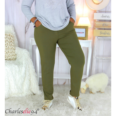 Pantalon femme grandes tailles stretch JANIE kaki Pantalon femme grande taille