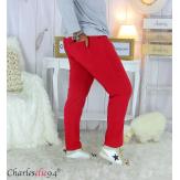 Pantalon femme grandes tailles stretch JANIE framboise Pantalon femme grande taille