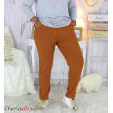 Pantalon femme grandes tailles stretch JANIE camel Pantalon femme grande taille