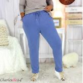 Pantalon femme grande taille sweat stretch PLAY bleu jean Pantalon femme grande taille