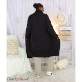 Veste longue sweat femme grandes tailles SWING noire Veste femme grande taille