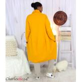 Veste longue sweat femme grandes tailles SWING moutarde Veste femme grande taille