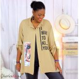 Chemise évasée femme grande taille tencel LONA camel Chemise femme grande taille