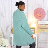 Gilet long femme grandes tailles grosse maille JAYA vert amande Gilet femme grande taille