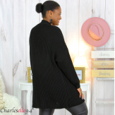 Gilet long femme grandes tailles grosse maille JAYA noir Gilet femme grande taille