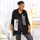 Chemise évasée femme grande taille tencel LONA noire Chemise femme grande taille