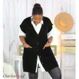 Gilet sans manche grosse maille femme GREGOR noir Gilet femme grande taille