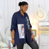 Chemise évasée femme grande taille tencel LONA bleu marine Chemise femme grande taille