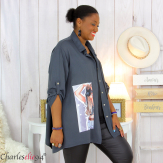 Chemise évasée femme grande taille tencel LONA gris Chemise femme grande taille