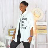 Chemise évasée femme grande taille tencel LONA blanche Chemise femme grande taille