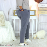 Pantalon femme grande taille sweat stretch PLAY gris Pantalon femme grande taille