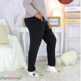 Pantalon femme grande taille sweat stretch PLAY noir Pantalon femme grande taille