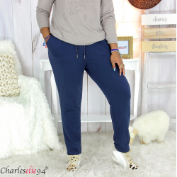 Pantalon femme grande taille sweat stretch PLAY bleu marine Pantalon femme grande taille
