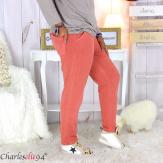 Pantalon femme grande taille sweat stretch PLAY brique Pantalon femme grande taille