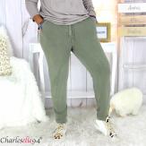 Pantalon femme grande taille sweat stretch PLAY kaki Pantalon femme grande taille