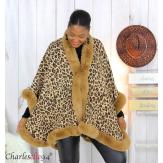 Cape hiver BAGUERA fourrure léopard femme grandes tailles Cape fausse fourrure femme