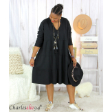 Robe sweat BABYDOLL noire superposition grandes tailles Robe tunique femme grande taille