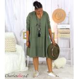 Robe sweat BABYDOLL kaki superposition grandes tailles Robe tunique femme grande taille