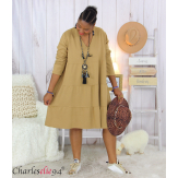 Robe sweat BABYDOLL camel superposition grandes tailles Robe tunique femme grande taille