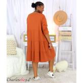 Robe sweat BABYDOLL brique superposition grandes tailles Robe tunique femme grande taille